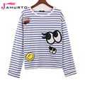 Jahurto Striped Shirt Women 2016 Kawaii Sequin Eyes Sticker Cute Batwing Long Sleeve Tshirt Women Crop T-shirt Designer Clothing
