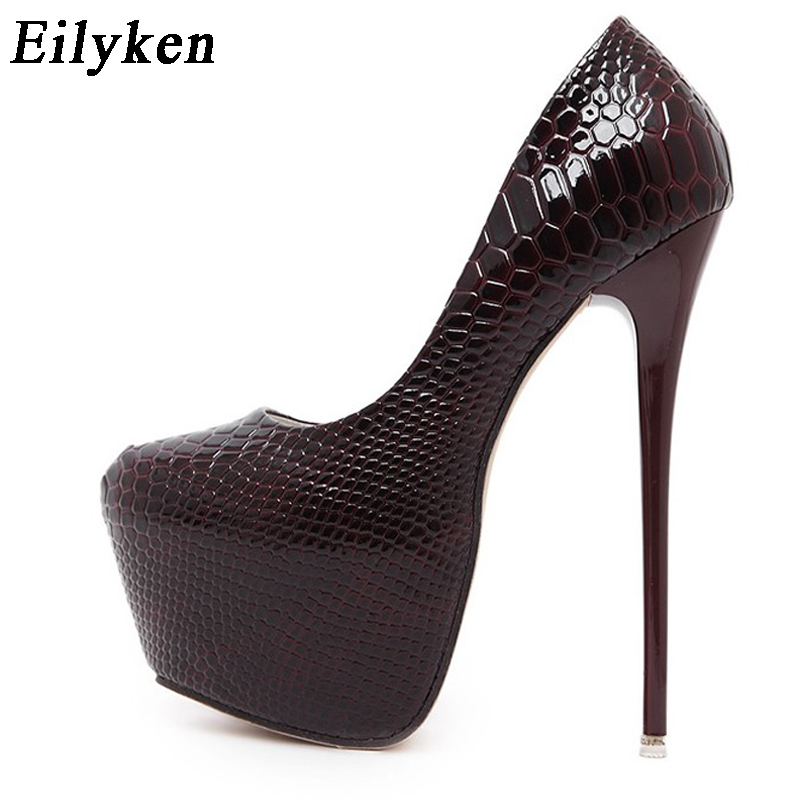 Eilyken New Snakeskin Pumps <font><b>16</b></font> CM high With Club high heels <font><b>Sexy</b></font> high-heeled shoes Round Toe Women Pumps Big size 40 image
