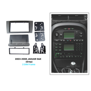 Seicane Grey Double Din Car Radio Fascia Auto stereo CD Dash Mount Trim for 2003-2008 Jaguar S&X Panel Adapter