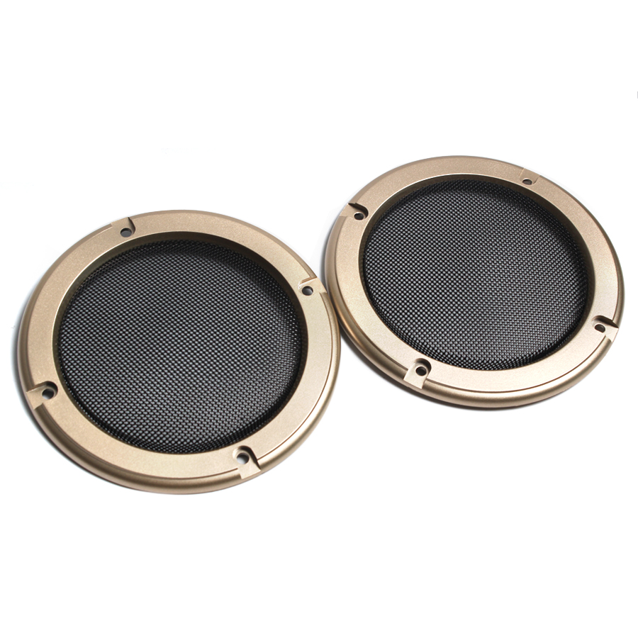 2PCS 2 Inch 3 Inch 4 Inch Tweeter Audio Speaker Cover Gold Frame Protective Decorative Mesh Grille Circle Speaker Accessories