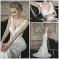 Fashion 2017 Vestidos de Novia Modest Beautiful Deep V-neck Sexy Straps Sleeveless Custom Made Wedding Dress Organza