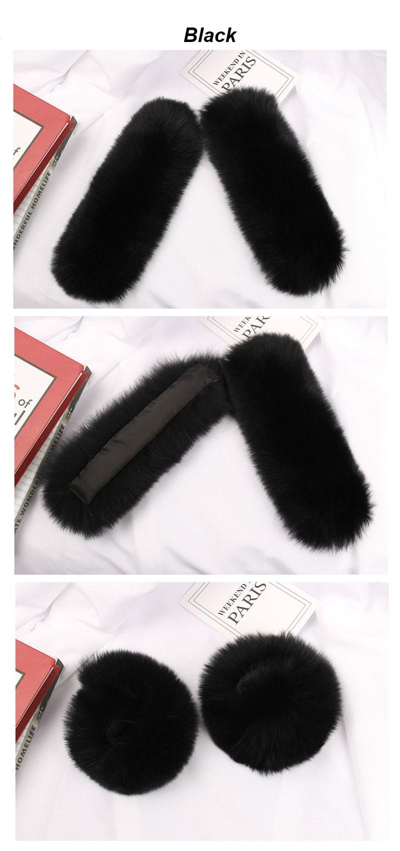 fox fur slap cuffs black