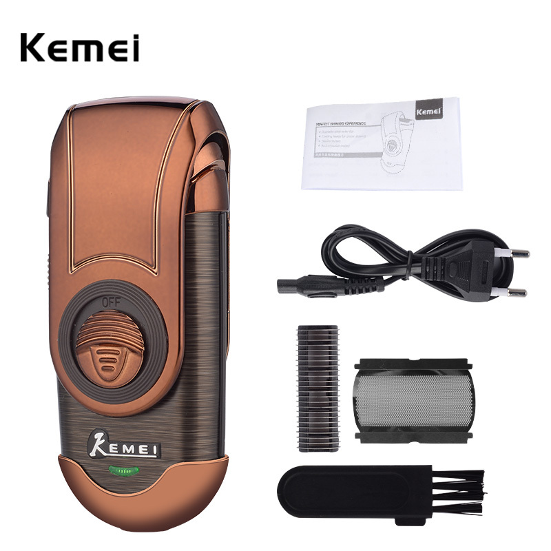 100-240V Kemei Rechargeable Electric Shaver Men Razor Stainless Steel Blade Beard Trimmer Machine Shaving Razor Reciprocating 220v rscw a28 mini electric shaver rechargeable single blade trimmer shaving reciprocating beard mustache razor for men s4243