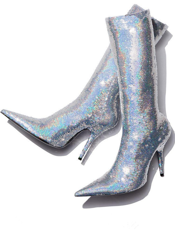 Здесь можно купить  2018 Autumn Hot Silver/Gold Sequin Women Fashion Ankle Boots Sexy Pointy Toe Ladies Stretch High Heel Boots Slip On Party Shoes  Обувь