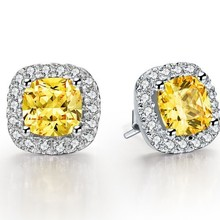 1CT/Pieces Cushion Shape Yellow Synthetic Diamonds Earring Stud for Women Genuine Sterling Silver Never Fade Or Discolor