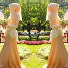 High Neck Long Sleeve Muslim Islamic Hijab Wedding Dress 2017 Nude Pink Satin Lace Bruidsjurken Wedding Dress Alibaba China