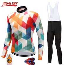 2019 NEW Team FUALRNY Long sleeve Ropa Ciclismo Cycling Jersey sets 9D gel/winter Thermal Fleece Clothing/MTB Clothes Man block