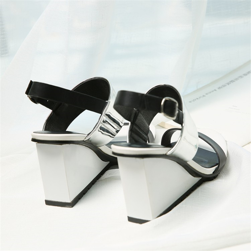 Ouqinvshen Mixed Colors Wedge Sandals Albaricoque Moda cuero genuino - Zapatos de mujer - foto 2