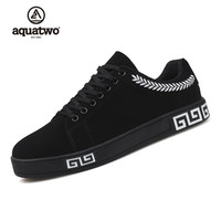 AQUATWO 2017 New Skate Shoes Men Suede Leather Lace Up Fashion Korea Style Shoes Red Black