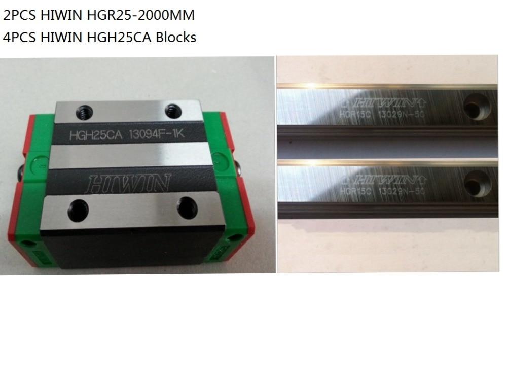 2pcs 100% Original Hiwin linear rail HGR25-2000mm + 4pcs HGH25CA narrow blocks