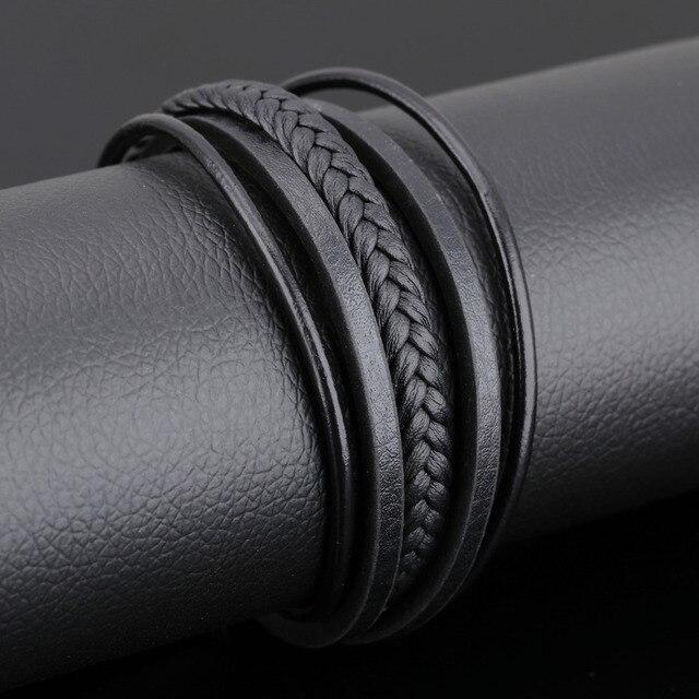 Фото многослойная цепочка из натуральной кожи мужские браслеты классический