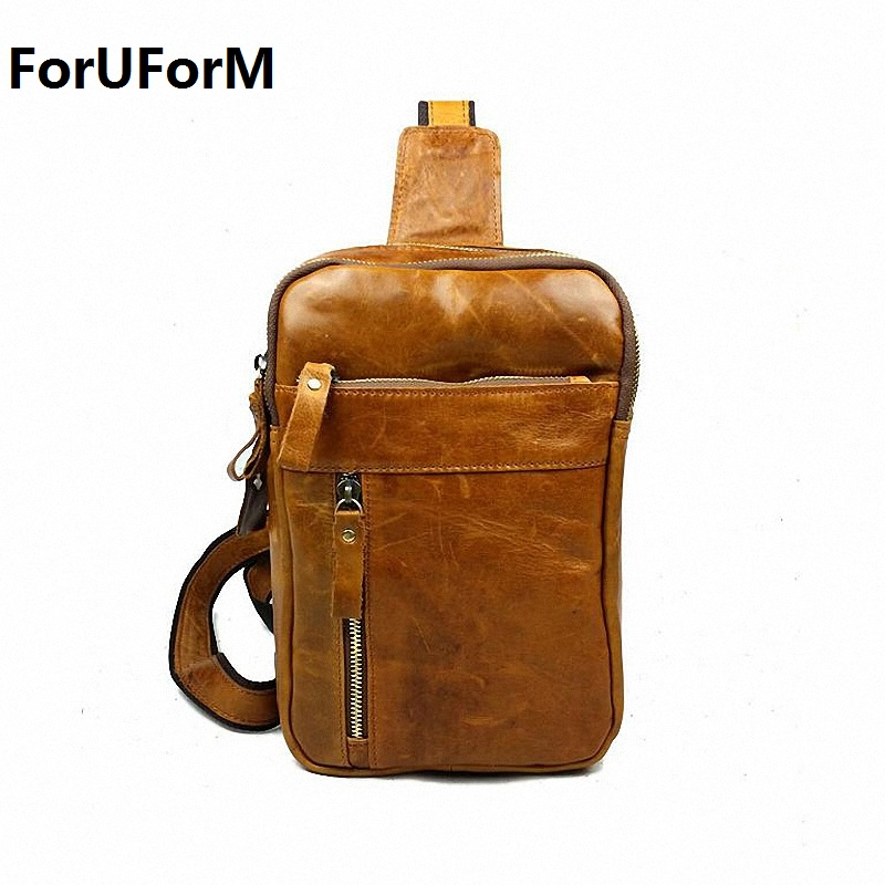 New High Quality Vintage Casual Crazy Horse Leather Genuine Cowhide Men Chest Bag Small Messenger Bags For Man LI-821 simline 2017 vintage genuine crazy horse leather cowhide men men s messenger bag small shoulder crossbody bags handbags for man