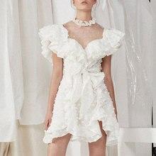 Polka Dot Mesh high street Sweet women dress elegant sexy ruffles butterfly sleeves holiday Summer New arrival