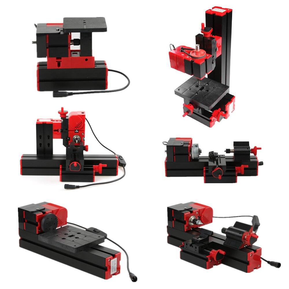 Mini FAI DA TE 6 in 1 Multi-funzionale Motorizzato Trasformatore Puzzle Grinder Driller Metallo Plastica Tornio Tornio di Legno Macchina di Taglio