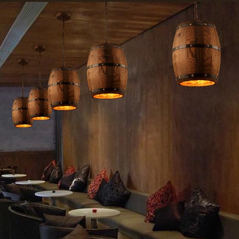 E27 pays D amérique loft bois Vin baril suspendu Luminaire plafond