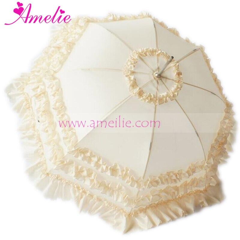 10pcs Lot New Hook Handle & Pongee Fabric Straight Wedding Princess Frill Sun Umbrella Parasol