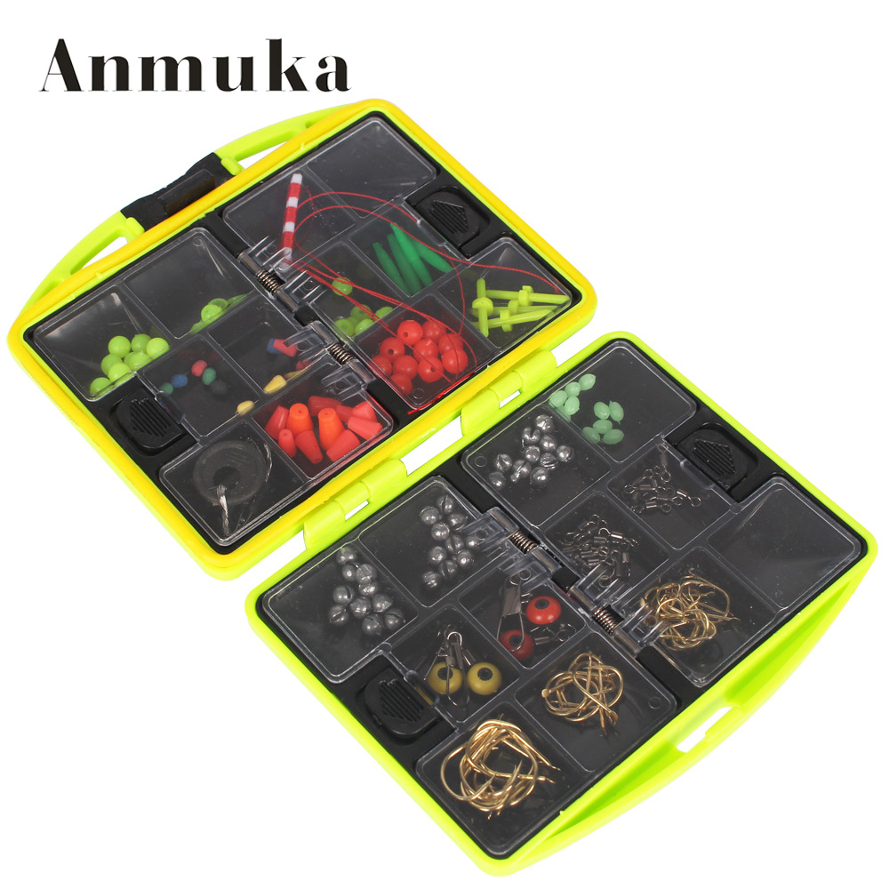 Anmuka Rock Fishing Accessories Box Surf Casting fishing tackle box Swivel Jig Hooks fishing tools set