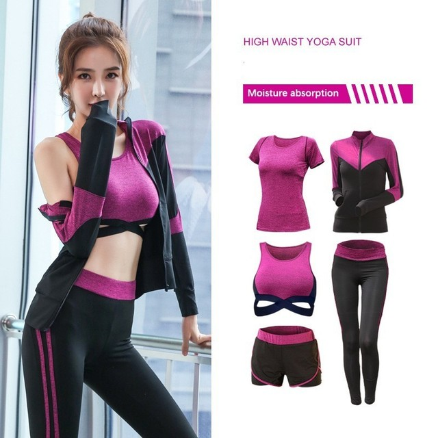 New Womens Sportwear Solid Yoga Sport Suit Breathable Gym Set Female Bra T shirt Shorts Pants Workout Fitness Clothes Tracksuit