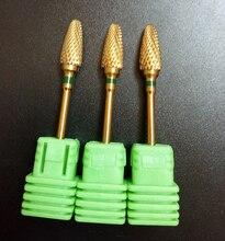 Alta qualidade 1 pcs Grosso verde Goden chama Bit ferramentas de arte do prego Grosso broca lixa de unhas elétrica broca BK407001TK