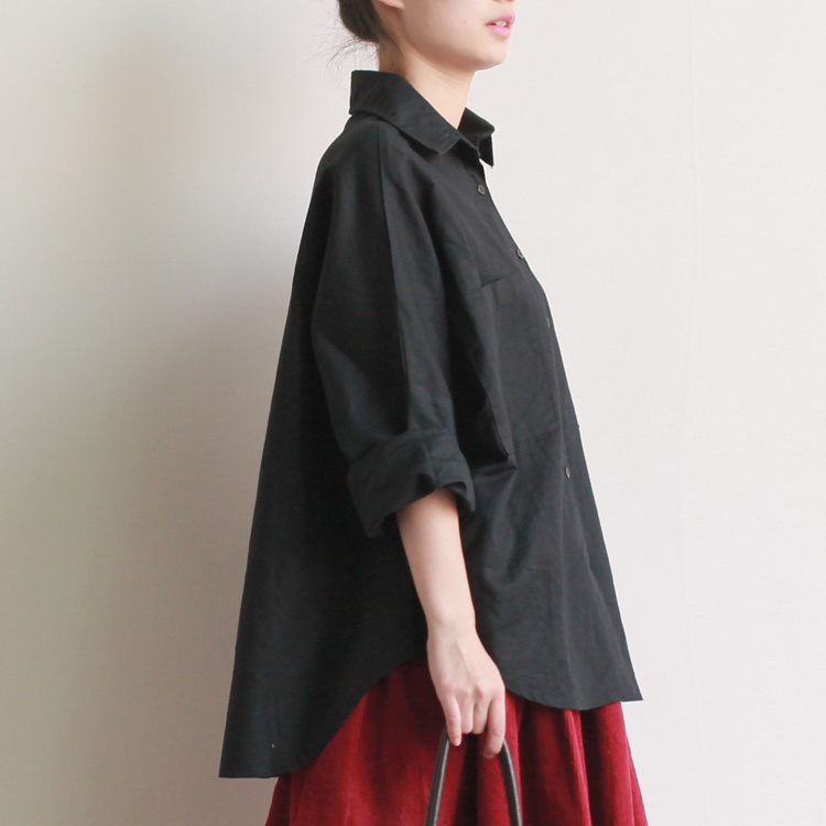 2016 fall plus size shirts women blouses Long sleeve white loose 100 cotton Linen tops black