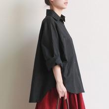 2016 fall plus size shirts women blouses Long-sleeve white loose 100% cotton Linen tops black shirt big size Clothing Femme