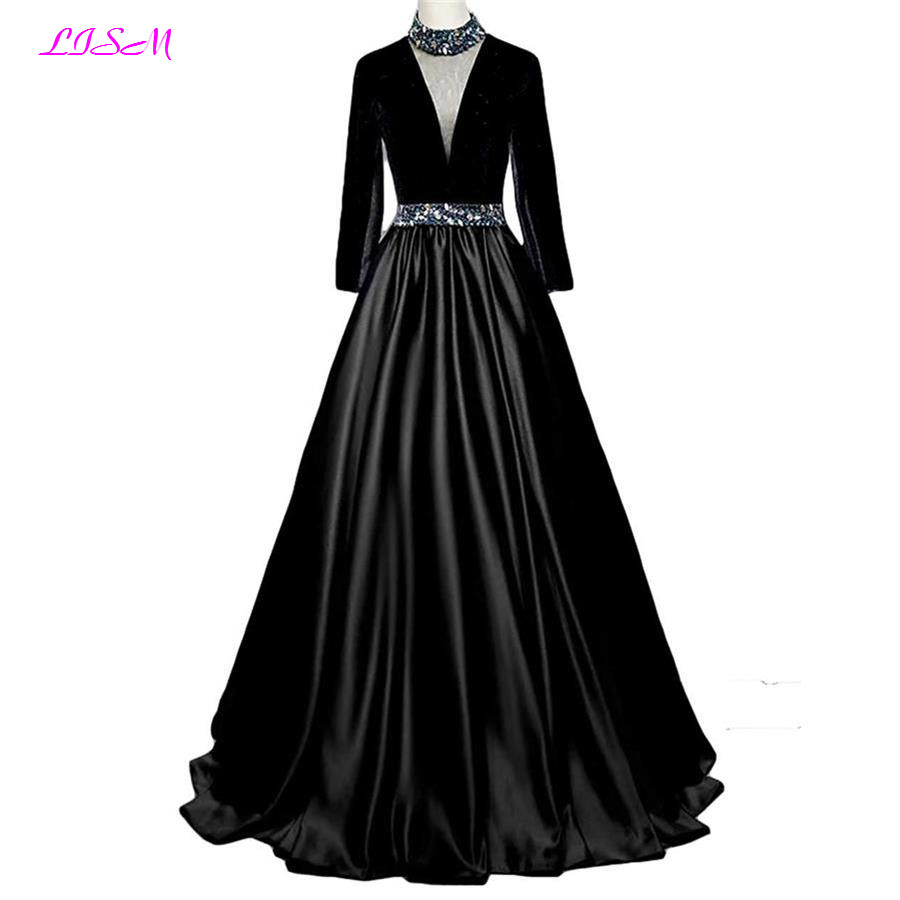 Vintage Black Crystals   Evening     Dresses   Long Sleeves High Neck Prom Gowns Sexy Sheer Back Satin Party   Dresses   vestido de festa