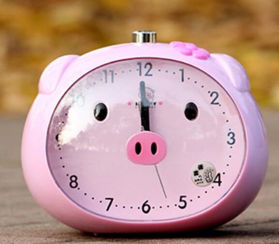 Pink Cartoon Mini Cute Pig Character Portable Desk Alarm Clock Bedroom Clock