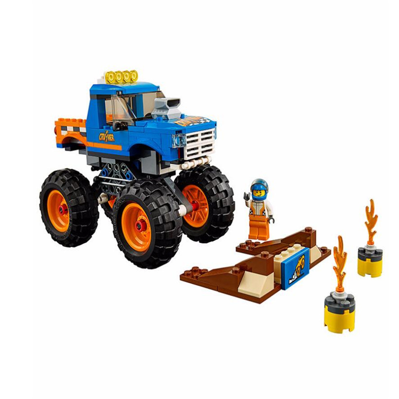 Lepin 215 Pcs Small Particle Assembled ABS Building Block Juguetes City Monster Lorry Truck Compatible Brick Toys For Children jie star fire ladder truck 3 kinds deformations city fire series building block toys for children diy assembled block toy 22024