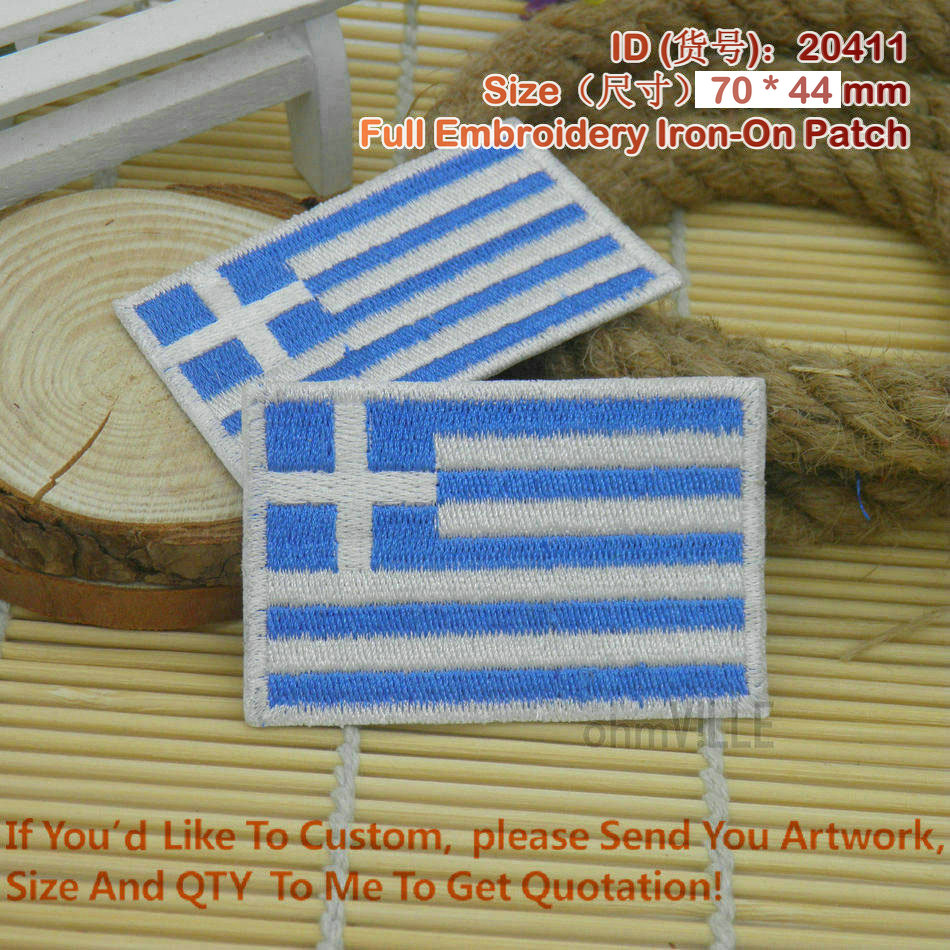 Greece flag full embroidery iron on patches quot accept