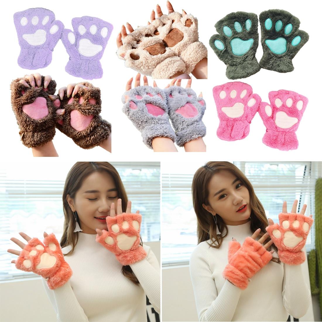 2018 Winter Schöne Bär Katze Klaue Pfote Handschuh Plüsch Frauen Handschuhe Kurz Finger Halb Handschuhe Damen Halb Abdeckung Weibliche Handschuhe