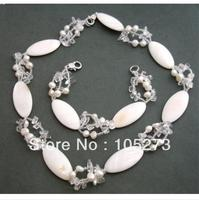 New Arriver Natural Gem Stone Jewelry Set White Shell Genuine Freshwater Pearl Crystal Beads Necklace Bracelet 4 30mm 18'' & 8''