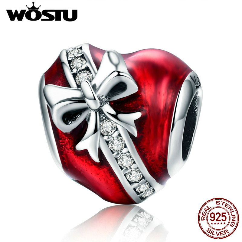 WOSTU 100% 925 Sterling Silver Love Of Gift Heart Beads Charm Fit Original Bracelet Pendants Authentic Jewelry