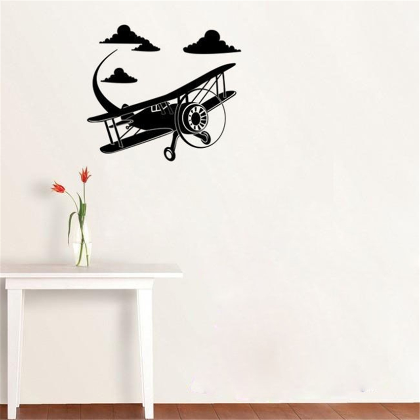 Airplane Aircraft Wall Sticker Home Decor Children Room Wall Mural Art Plane Avation Wall Decals for boys wall decor M349 ...