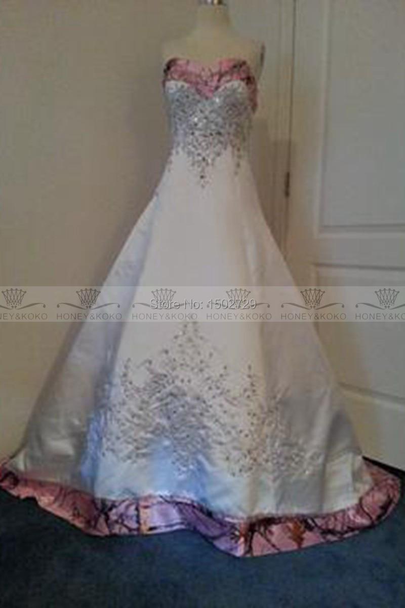 Wedding Pink Camo Wedding Dresses aliexpress com buy custom made colored pink camo wedding dress 2017 a line sweetheart satin corset vestidos de novia plus