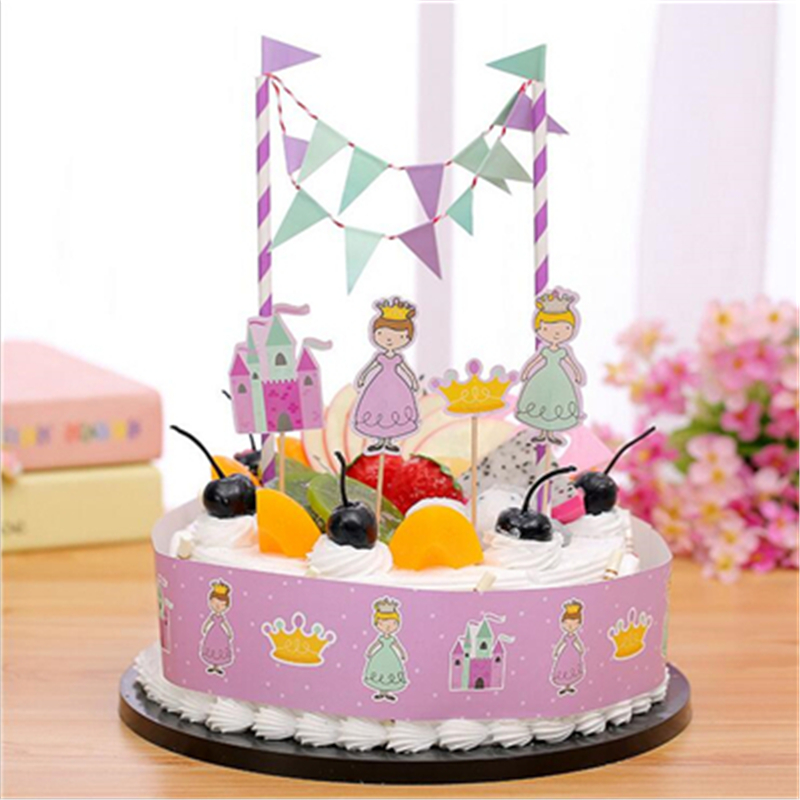 lovely princess style birthday party decorations kids cake topper happy birthday supplies for baby shower cartoon - Cheap Party Decorations