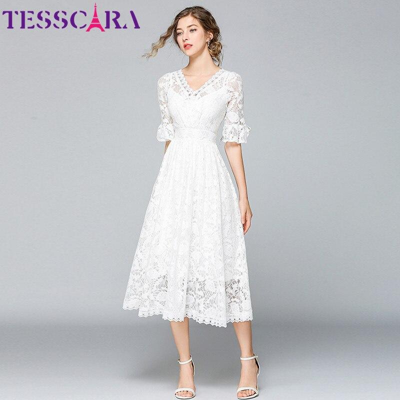 TESSCARA Women Summer Long White Lace Dress Female Elegant Wedding Party Robe Femme Designer High Quality Flower Girl Vestidos