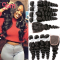 7A Malaysian Loose Wave 4 bundles with closure Alimoda Malaysian Virgin Hair Loose Wave with Lace Closure Queen Human Hair Weave