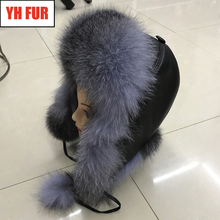 2019 Women Natural Real Fox Fur Hat Winter Ushanka Bomber Cap Russia Snow Wind Thick Warm Fur With Real Sleepskin Leather Caps cheap Adult Casual YH-FUR-6233 Solid Skullies Beanies 100 real natural fox fur adjustable suitable for everyone