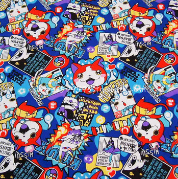 50*140cm Yo-Kai Watch Seal Jibanyan Whisper Periphery Yokai cotton Sewing Fabric girl baby Diy Handmade Craft Bedding Home 1