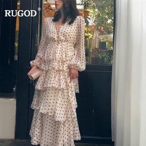 Image 2 - RUGOD אלגנטי מדורג לפרוע שמלת נשים טמפרמנט זהב קו ארוך שרוול המפלגה שמלת הדפסת נקודה מזדמן בוהמי בז שמלה