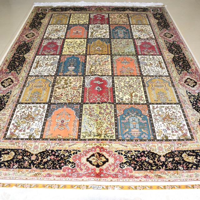 Mingxin 6x9 Feet Four Seasons Geometry Carpet Turkish Design For Handmade Rug Persian Hereke Silk