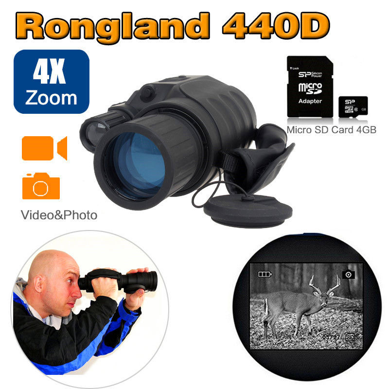 Rongland Infrared Night Vision NV-440D+ 4x40 Monocular Telescope Outdoor Wildlife Hunting Magnification Device 260m View bestguarder digital night vision monocular ir wildlife 6x50mm 5mp hd camera hunting infrared 850nm night vision telescope