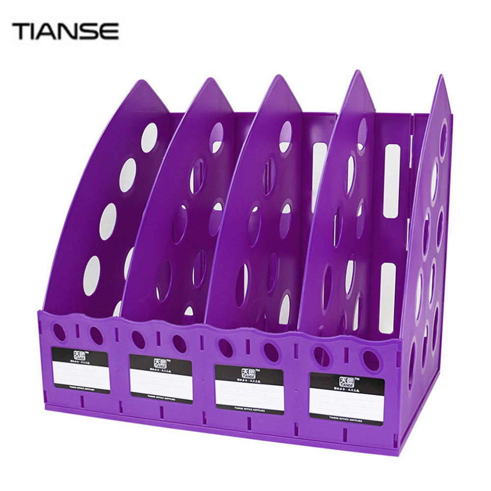 TIANSE TS-1306 Special Design Plastic 4 Section Divider File Rack Multifunctional Home Office Desktop Storage Bookshelf