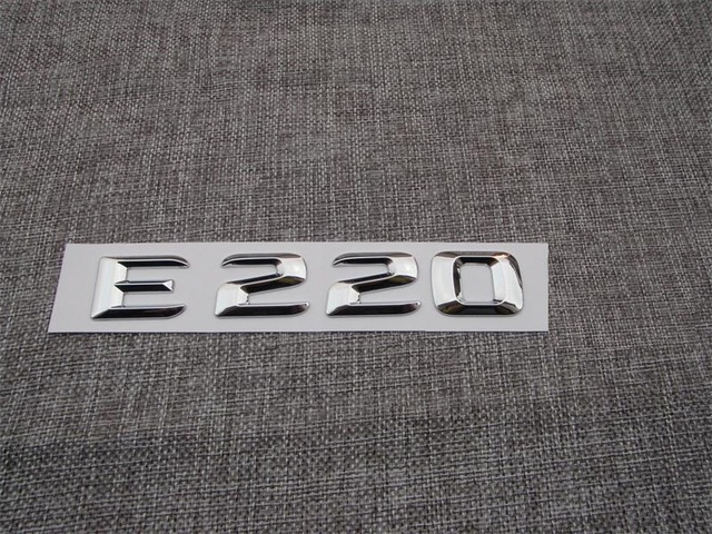 Chrome e 220 letters words number car auto front trunk rear badge emblem decal sticker for