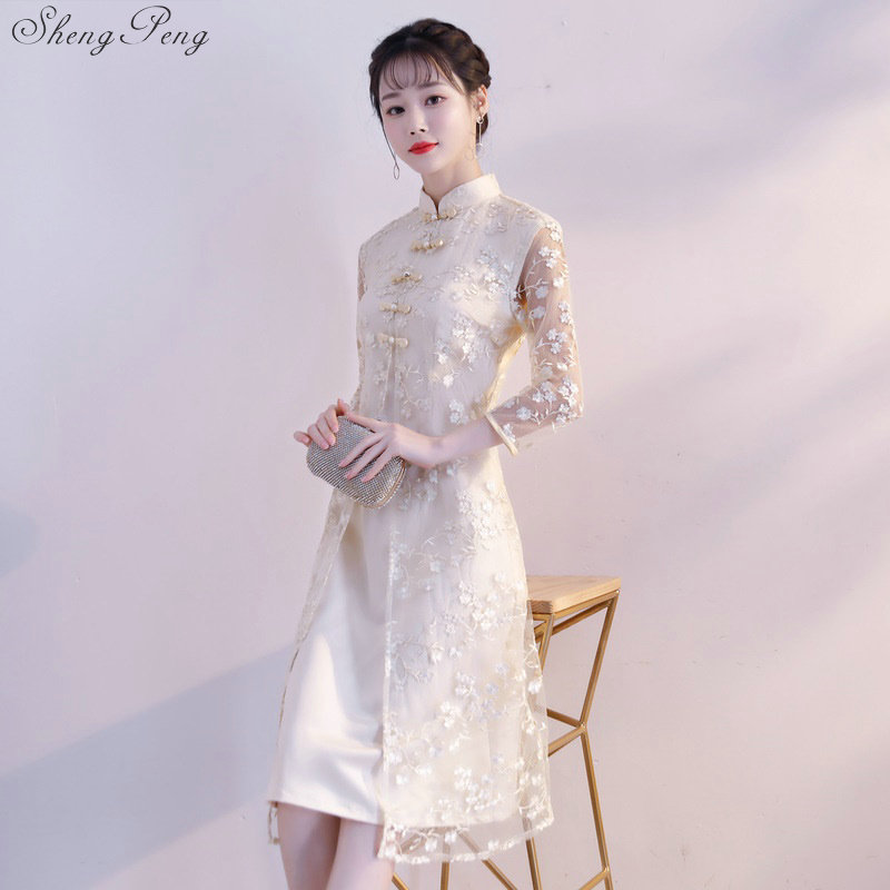68479af19629 Ao dai cheongsam qipao women chinese new year dress 2018 traditional  chinese clothing for women Q214-in Cheongsams from Novelty & Special Use on  ...