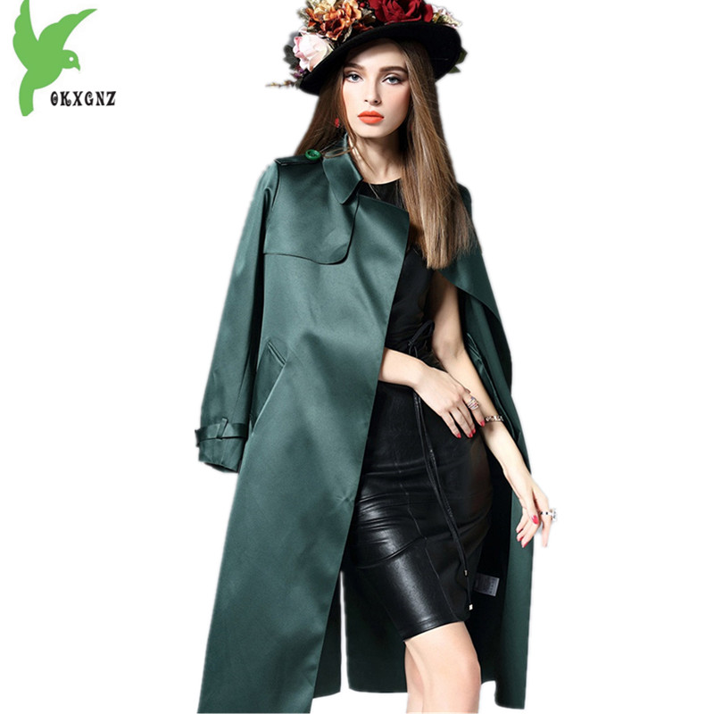 Boutique Women Autumn Winter   Trench   Coats Twill silk Cardigan Coats Loose Sashes Long section Windbreaker Outerwear OKXGNZ A1431