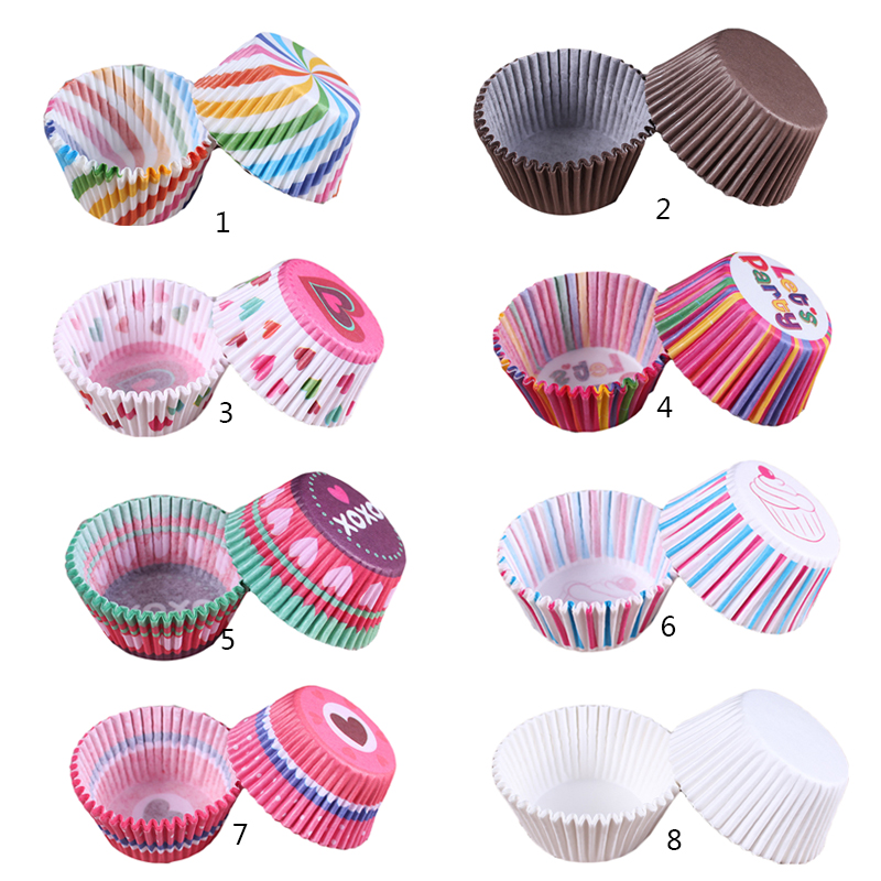 100pcs/set Cupcake Paper Cups Colorful Cupcake Liner Baking Muffin Box Cup Case Party Tray Cake Mold Cake Decorating Tools