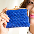 High quality Brand Woven wallet Weave Quilted Lady knitted wallets women leather Classic hasp short ladies Purses Clutch