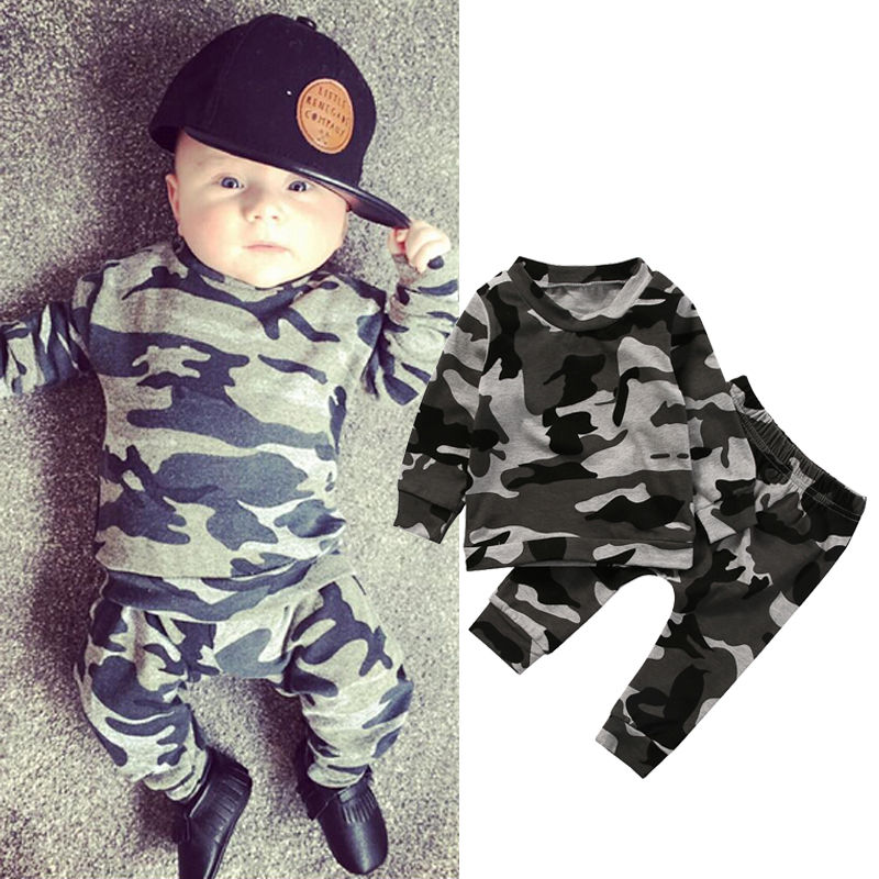 Camouflage 2PCS Newborn Baby Boy Girl Clothes Set Fashion Toddler Kids Long Sleeve T-shirt Tops Pant Outfit Children Tracksuit 2017 cute kids girl clothing set off shoulder lace white t shirt tops denim pant jeans 2pcs children clothes 2 7y
