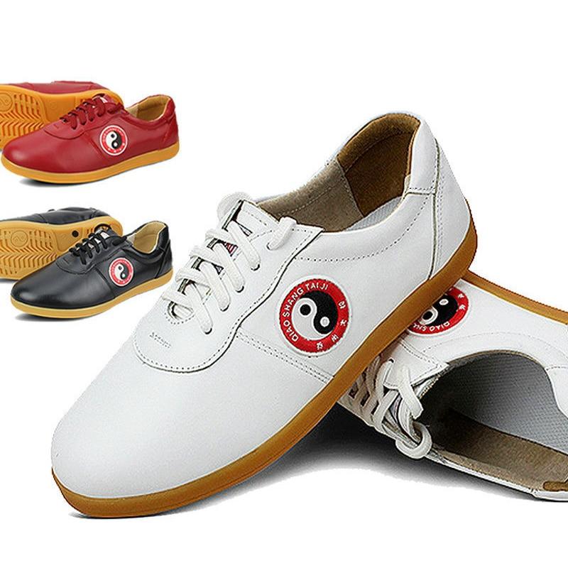 ФОТО Leather Cowhide Chinese wushu shoes taichi shoes taolu kungfu taiji Practice Shoes for men women kids boy girl children adults